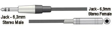 Jack 6,3mm Verlengsnoer - 6,0m